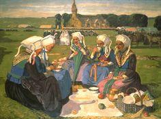 Charles Cottet (1863-1925) - Femmes de Plougastel a Pardon de Sainte-Anne-La-Palud