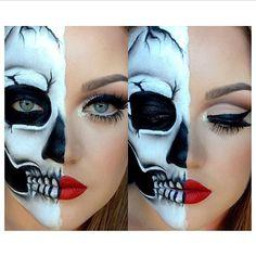 23 Cool Skeleton Makeup Ideas for Halloween - Halloween Gesicht - Makeup Skeleton Makeup Half Face, Half Skull Makeup, Cool Skeleton, Pretty Skeleton Makeup, Halloween Look, Halloween Makeup Looks, Halloween Skeletons, Halloween Inspo, Halloween Costumes