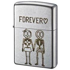 Skeleton couple Zippo windproof lighter on Satin Chrome    ユーズドフィニッシュスカル