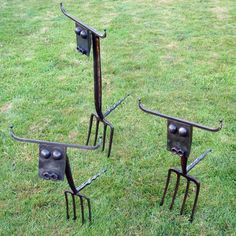 Rusted steel and recycled garden forks Abstract Garden sculpture by artist Katie Lake titled: 'Lawn Cows (Amusing Recycled Semi Abstract Statues)' £140 #sculpture #art
