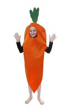Kids Carrot Costume  They say you should eat lots of vegetables do you think you can convince the girls your worth a nibble? Carrots are also said to make you able to see better so maybe if you wear these funny Kids Costumes you'll get to see a little more of that special girl, take a peek.