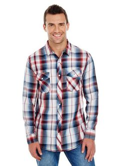 Burnside Long-Sleeve Plaid Pattern Woven Shirt in Red, add company logo Blank T Shirts, Work Shirts, Restaurant Uniforms, Plaid Fashion, Roll Up Sleeves, Red S, Plaid Pattern, Men Casual, Long Sleeve