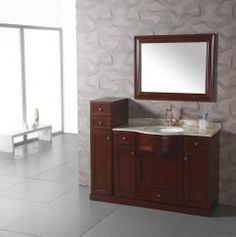 43 Inch Transitional Single Sink Bathroom Vanity with Cream Marble Top