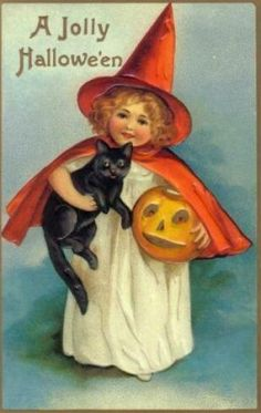 Little Witch Girl and her Black Cat - Vintage Halloween Images | Condition Free | Entirely Public Domain By Nancy Oram