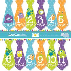 Monthly Baby Onesie Tie Stickers for Boys - Cute Monsters - Great Photo Prop and Baby Shower Gift. $9.99, via Etsy.