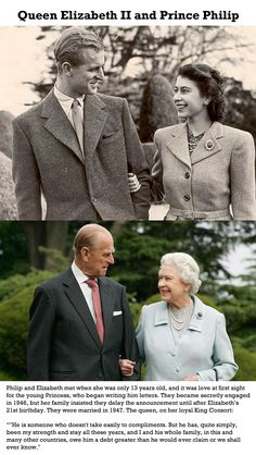 Queen Elizabeth II and Prince Philip, then and now.