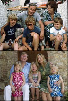 2 generaties koninklijke families; Prins Claus en Prinses Beatrix met hun 3 zonen. Koning Willem - Alexander en koningin Maximá met hun 3 dochters