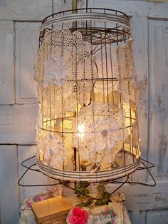 Shabby bird cages on pinterest birdcages shabby chic for Doily light fixture