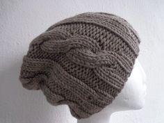 Kopfbedeckung - edler Grobstrick Beanie Mütze 100%Merino - ein Designerstück von flowerchildflowerchild bei DaWanda