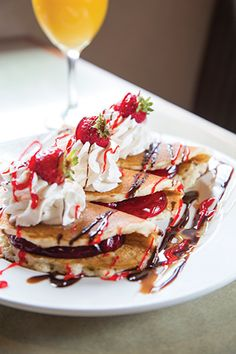 Sweet feast: Landmark Diner's decadent rolled strawberry pancakes. #WhatsForBreakfast