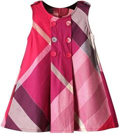 Amazon.com: Yinggeli Little Baby Girls Long Sleeve Plaid Checked Princess Dress (2-3 Years, A-Rose Red): Clothing