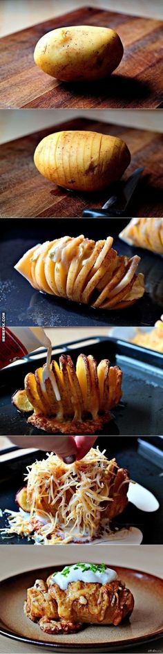 The perfect baked potato. How to make… -rinse and scrub potatoes -cut into thin slices (not all the way through), use a spoon or knife beside potato to keep you from cutting all the way through -put in baking dish and fan out slices -sprinkle with salt and drizzle with butter, sprinkle with herbs -bake at 425 for about 50 minutes -remove from oven and sprinkle with cheeses (whatever you want) -bake for another 10-15 minutes until cheese are melted and potatoes are soft inside