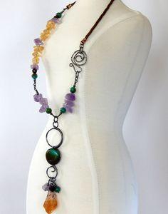 Turquoise Statement Necklace Turquoise Boho Necklace Natural Gemstones Layering Necklace Turquoise Bohemian Jewelry by BeadIndulgences on Etsy