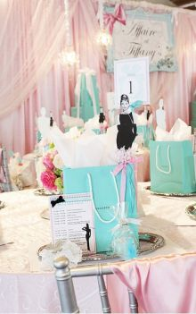 Favors and table decoration in tiffany blue! You see Audrey is on top of paper bag, how cute is that !!