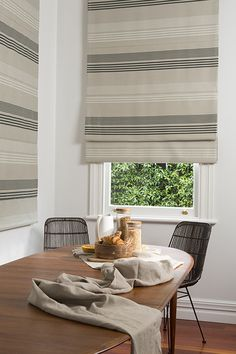 The enhanced horizontal lines of Roman Blinds can create the perfect backdrop for any room. Spring Crest Curtains and Blinds make many different styles of Romans, from sewn Romans with drapery. Drapery Fabric, Curtains, Roman Blinds, Outdoor Fabric, Upholstery, Lounge, Indoor, Room Ideas, Home Decor