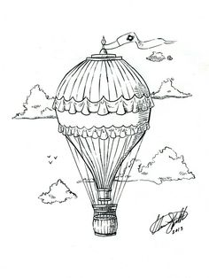 Hot Air Balloon Tattoo by C-Fillhart. Maybe the flag has scripture Air Ballon, Hot Air Balloon, Ballon Illustration, Air Balloon Tattoo, Pen Art, Drawing People, Art Sketches, Coloring Pages, Girly