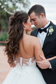 Long curls, brunette bride, half-up, bridal hair ideas // Monica Roberts Photography