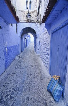 bread at the door in the blue town of Chefchaouen, Morocco