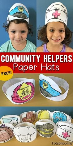 Helpers Printable Paper Hats FREE printable Paper Hats that kids can color and wear when learning about community helpers, occupations, or when doing dramatic and pretend play. Great for preschool and kindergarten! Preschool Themes, Preschool Classroom, Preschool Learning, Preschool Activities, Space Activities, Toddler Preschool, Free Printables For Preschool, Sunday Activities, Preschool Centers