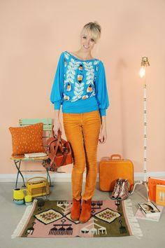 "BOBBYTOP ""YALLA CREAM-BLAU"" von Bonnie & Buttermilk auf DaWanda.com #shirt #tshirt #langarmshirt #bobbieandbuttermilk #pulli #pullover #fashion #mode #retro #siebziger #local #handmade #berlin"