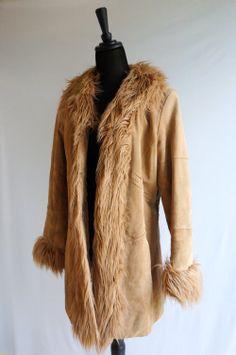 1970's Style Leather & Faux Fur Camel Coat  - $62 for sale in my Threadflip closet! www.threadflip.com/caro #TFCLOSETCONTEST