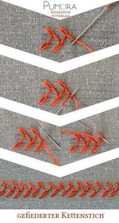 Embroidery Designs feathered chain stitch tutorial - Learn how to embroider with the lexicon of embroidery stitches. Step by step tutorials on how to do the chain stitch and it's variations. Embroidery Stitches Tutorial, Sewing Stitches, Embroidery Needles, Silk Ribbon Embroidery, Crewel Embroidery, Hand Embroidery Patterns, Embroidery Techniques, Cross Stitch Embroidery, Machine Embroidery