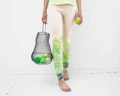 Live green - beige leggings with lime green print. $45.00, via Etsy.