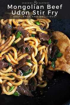 Mongolian Beef Udon - Delicious Mongolian Beef, quickly stir fried with udon noodles, for a quick and easy meal! Mongolian Noodle Recipe, Mongolian Beef, Mongolian Recipes, Meat Recipes, Asian Recipes, Cooking Recipes, Noodle Recipes, Beef Udon Noodle Recipe, Chinese Recipes