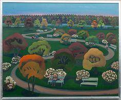 Pirkko Lepistö: Syksyinen puisto, 1978, öljy kankaalle, 62x75 cm - Bukowskis