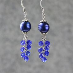 http://www.beadshop.com.br/cristais-preciosa/d20/?utm_source=pinterest&utm_medium=pint&partner=pin13 Pearl royal blue chandelier earrings Bridesmaid by AnniDesignsllc