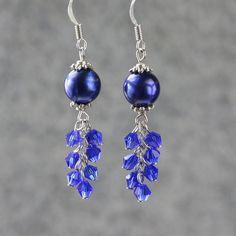 http://www.beadshop.com.br/cristais-preciosa/d20/?utm_source=pinterest&utm_medium=pint&partner=pin13 Pearl royal blue chandelier earrings Bridesmaid by AnniDesignsllc