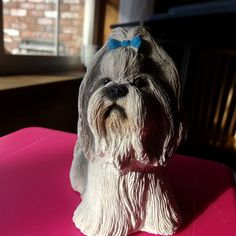 Living Stone Shih-tzu, Dog figurine, vintage dog figurine, dog lover's figurine, gift for her, home decor, made in the USA by Morethebuckles on Etsy