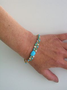Turquoise Gold Cuff Retro Wire Wrapped Bracelet by bellajewelsII