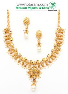 22K Gold Uncut Diamond Necklace & Drop Earrings Set With Pearls - DS274 - Indian Jewelry from Totaram Jewelers