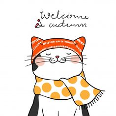 Dibujar gato negro con bufanda de belleza y la palabra bienvenida otoño