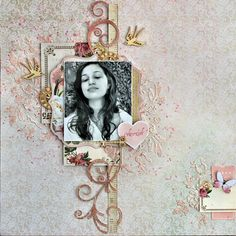 'Cherish' layout by Cathy Cafun Design Team for Kaisercraft using 'Mademoiselle'-collection ~ Wendy Schultz ~ Scrapbook layouts. Scrapbook Sketches, Scrapbook Albums, Scrapbooking Layouts, Frame My Photo, Watercolor Effects, Vintage Theme, General Crafts, Photo Craft, Wedding Album