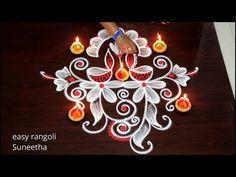 Simple Rangoli Designs Images, Kolam Designs, Diwali Drawing, Diwali Festival, Good Morning Happy, Religious Symbols, Bridal Blouse Designs, Birthday Candles, Deep
