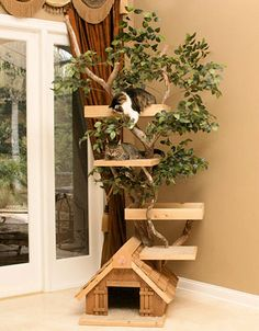 """84"""" Cat Tree House - I'd get it for my cats if they'd get a freakin' job."""