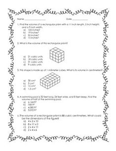 math worksheet : 1000 images about 5th  6th grade math on pinterest  worksheets  : 5th Grade Math Volume Worksheets