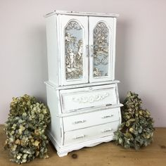 Very Large Vintage Jewellery Box / Armoire Painted in Old White with Pale Grey/Blue Cherub French Toile Inlay. Large Jewelry Box, White Chalk Paint, Wooden Hearts, Cherub, Home Decor Items, Armoire, Blue Grey, Custom Design, Vintage Jewelry