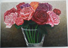 Pictura trandafiri Rose, Artist, Flowers, Plants, Design, Pink, Florals, Roses, Planters