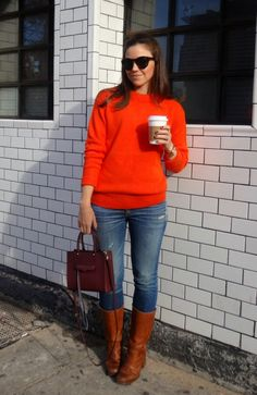Orange Sweater with Boots