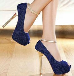 Fashion - blue & gold shoes