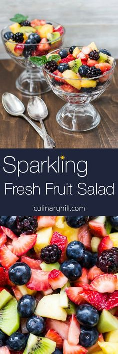 Make your fresh fruit salad sparkle with the addition of bubbly moscato or fruit juice! A simple way to make your summer salad a little more special.