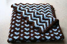 Crochet Ripple Hearts Baby Afghan/Blanket