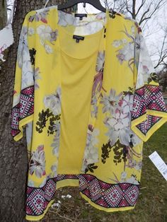 NWT Womens 2X Yellow Floral 2pc Blouse Top sz 2X New with tags Plus #Notations #Blouse