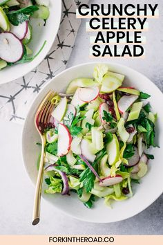 Crunchy Celery Apple Salad, a simple vegan salad made with crisp celery and apple, fresh herbs like parsley and mint, sweet dried cranberries, and a light olive oil and lemon dressing. A great way to use up leftover celery and reduce food waste! Apple Celery Salad, Apple Salad Recipes, Healthy Salad Recipes, Recipes With Celery, Best Nutrition Food, Nutrition Jobs, Nutrition Products, Nutrition Chart, Nutrition Guide