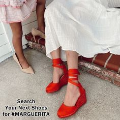 These warm-weather wedges are distinguished by a luxe and lightweight handwoven rope sole and an on-trend wrap-up ankle ribbon complete with SW Star logo hardware accents. Red Espadrille Wedges, Espadrilles, Hot Heels, Wedge Heels, High End Shoes, Sock Shoes, Women's Shoes, Next Shoes, Star Logo