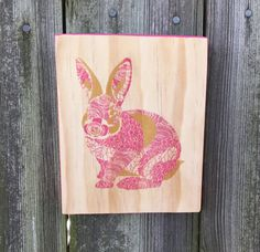 Bunny Rabbit floral wood print wood wall art hanging by ShortyLife