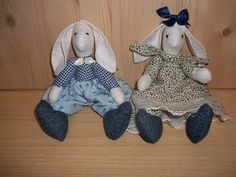"Cloth Rabbits hand-made, the first Emigrants to America, the ""Pioneers"""